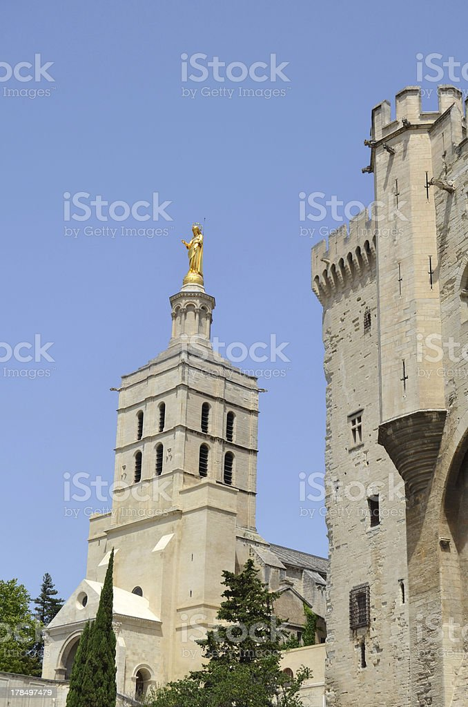 Virgin Statue that crowns the western tower. Cathedral of Avignon royalty-free stock photo