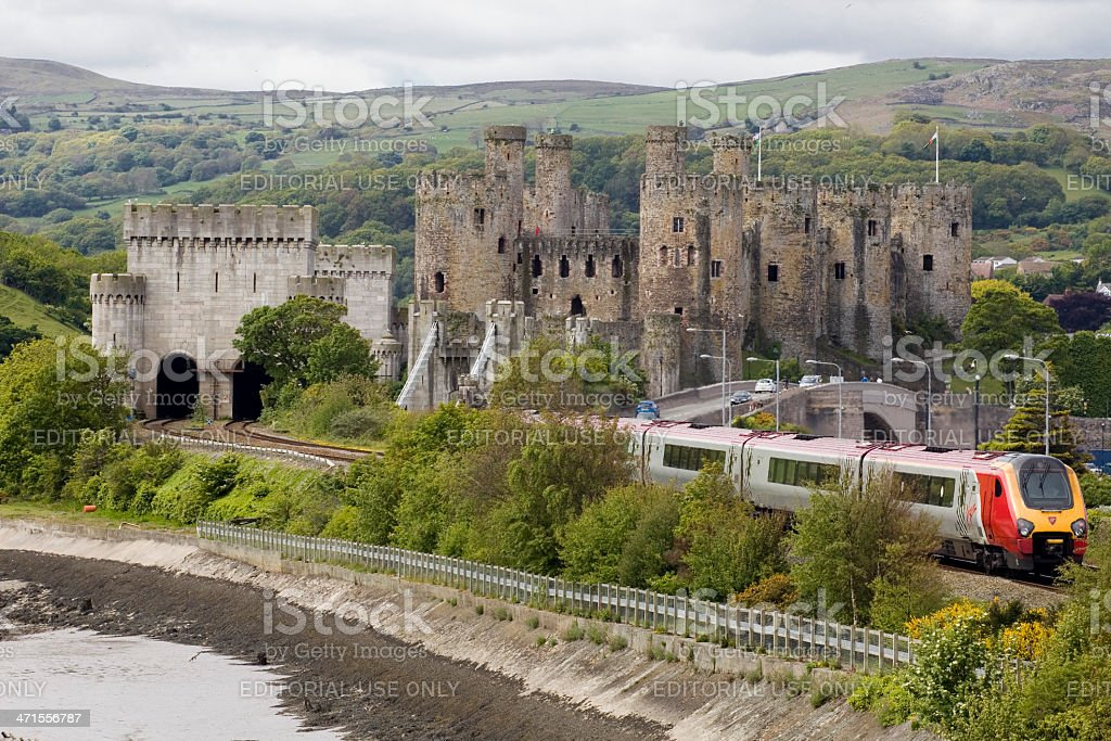 Virgin Train travelling through the welsh countryside stock photo