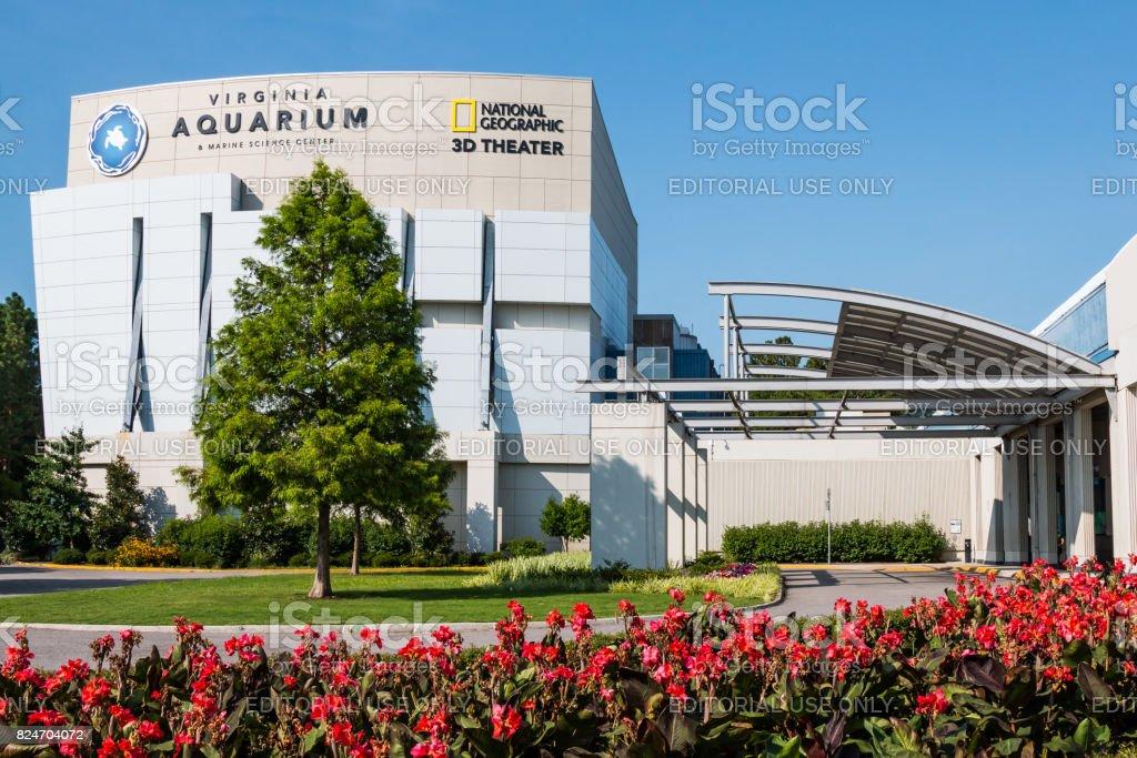 Virginia Aquarium and Marine Science Center with Red Flowers stock photo