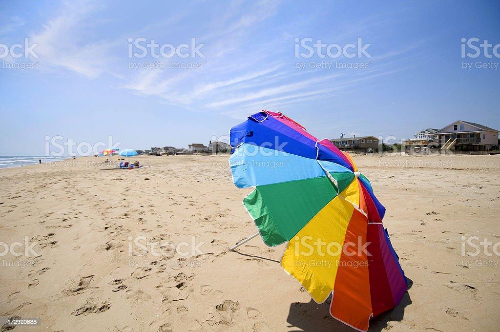 Virginia Beach and umbrella royalty-free stock photo