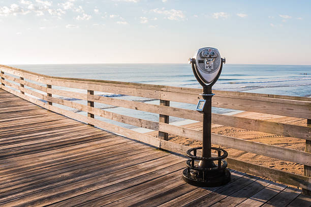 Virginia Beach Fishing Pier with Sightseeing binoculars stock photo