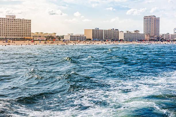 Virginia Beach from the ocean stock photo