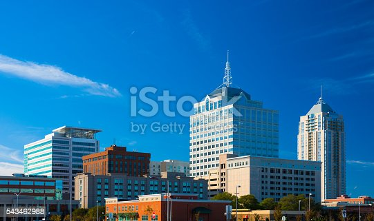 Virginia Beach Town Center skyline.  Virginia Beach Town Center is in the central business district of Virginia Beach and functions as it's downtown.  Virginia Beach is part of the Hampton Roads area.
