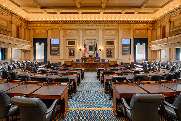 Virginia House Chamber Richmond, Virginia, USA - December 15, 2014: House of Representatives chamber in the Virginia State Capitol building state capitol building stock pictures, royalty-free photos & images