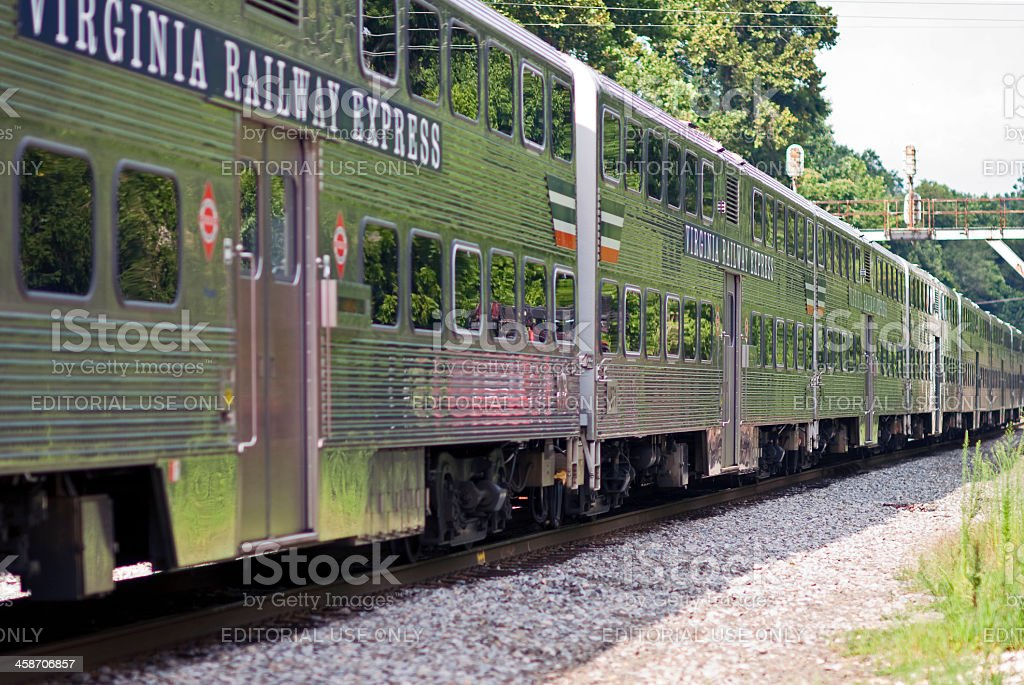 Virginia Railway Express (VRE) Passenger Cars royalty-free stock photo