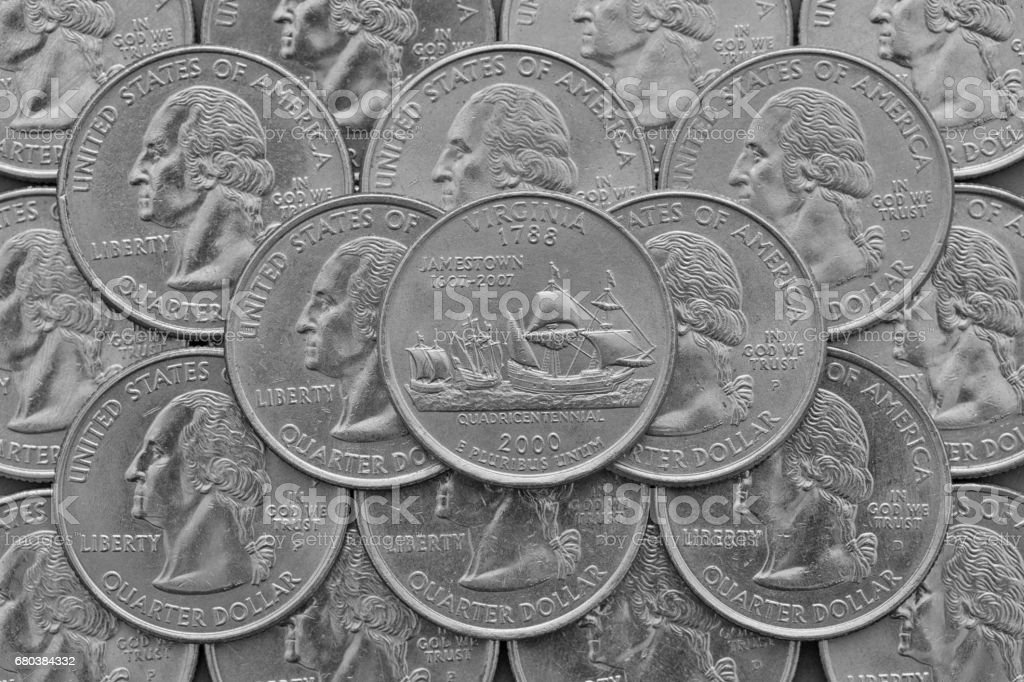 Virginia State and coins of USA. royalty-free stock photo