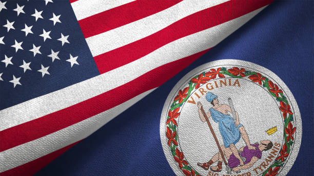 Virginia state and United States two flags together realations textile cloth fabric texture stock photo