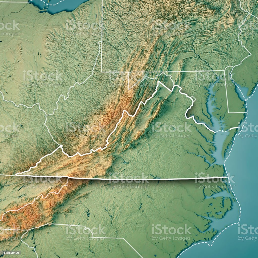 Topographic Map Of The Usa.Virginia State Usa 3d Render Topographic Map Border Stock Photo