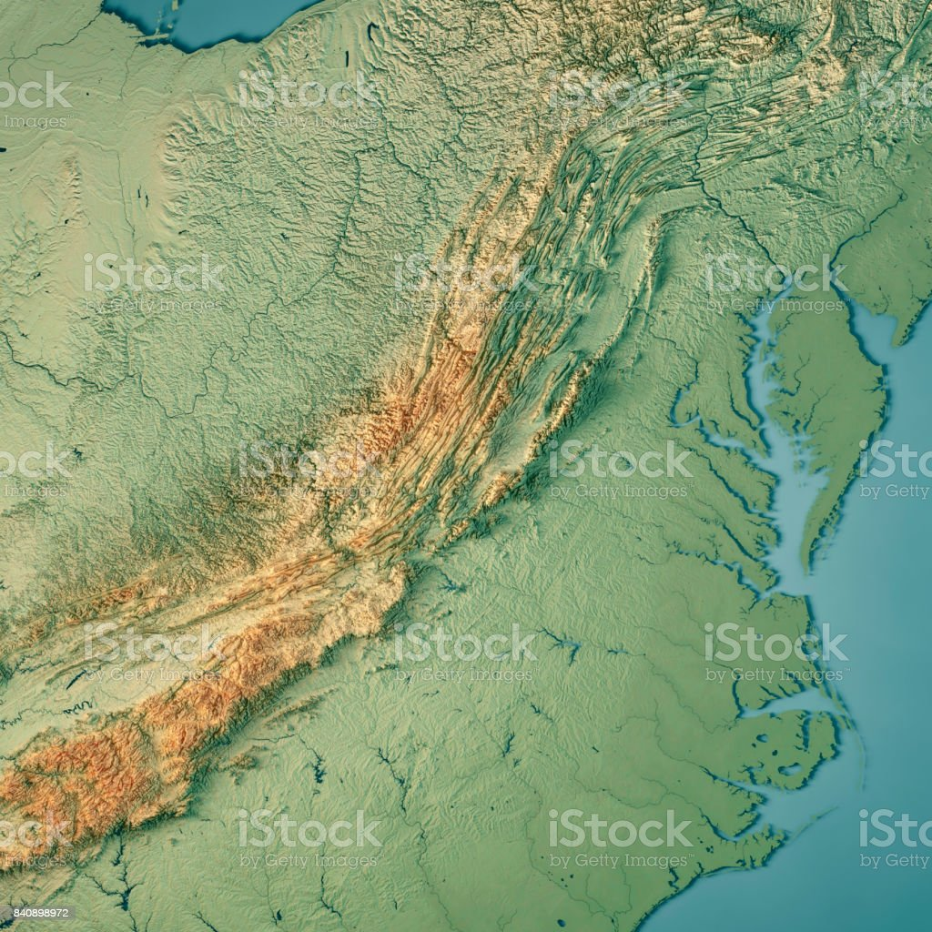 Virginia State Usa 3d Render Topographic Map Stock Photo ...