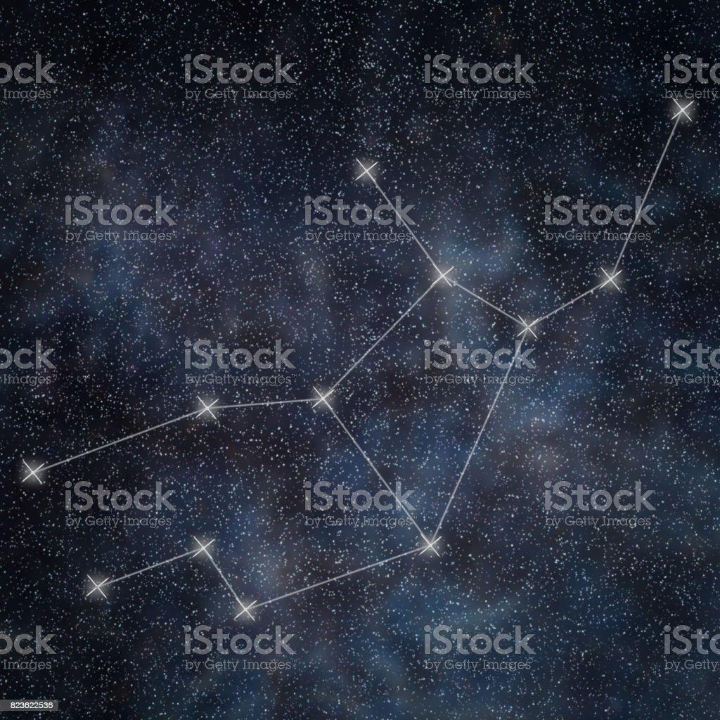 Virgo Constellation. Zodiac Sign Virgo constellation lines Galaxy background stock photo