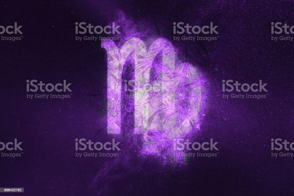 Virgo Zodiac Sign. Night sky Abstract background stock photo
