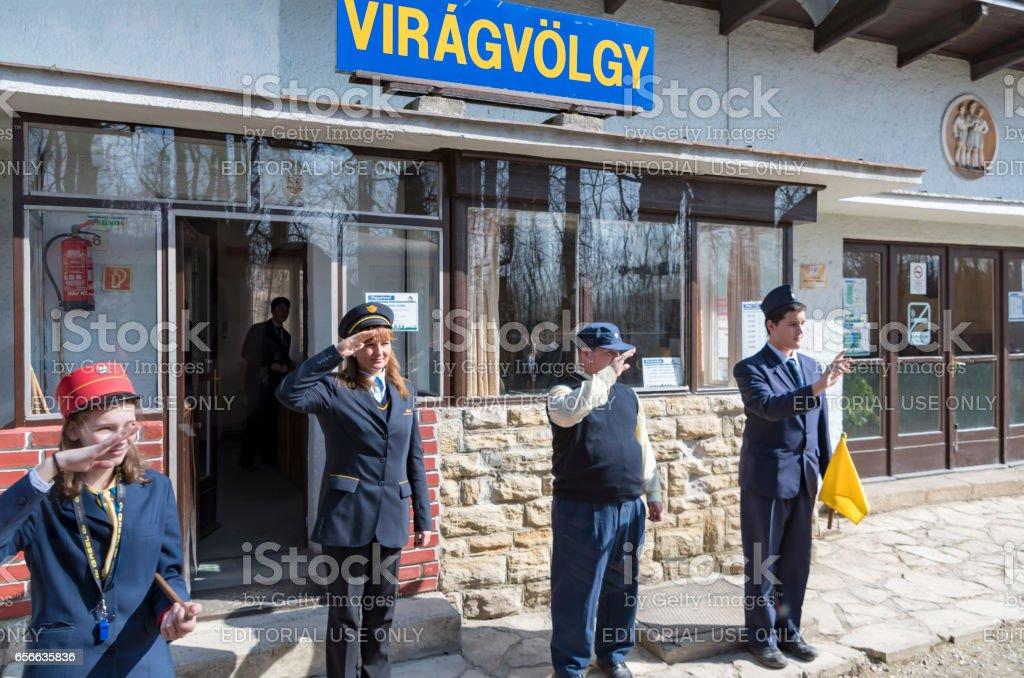Virágvölgy Station Railway Platform Staff Salute stock photo