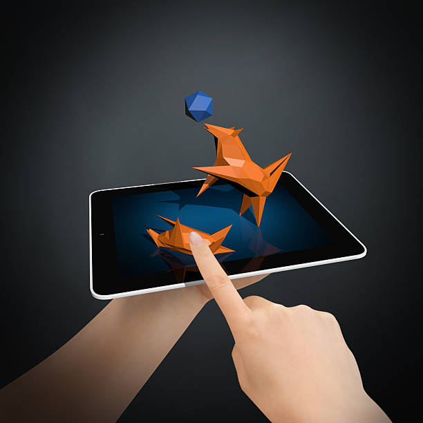 Virtual Animal Love on New Generation Tablet PC Three-dimensional holographic technology will soon entertain our kids. This area will develop a new technology that will occur in the market. It will become very popular virtual pet grow larger.. cartoon and kids stock pictures, royalty-free photos & images