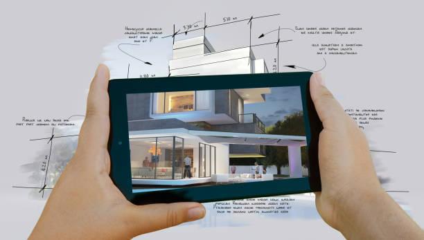 Virtual architecture project app stock photo