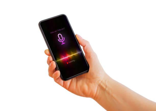 Tecnologia de assistente virtual usada no telefone celular. - foto de acervo