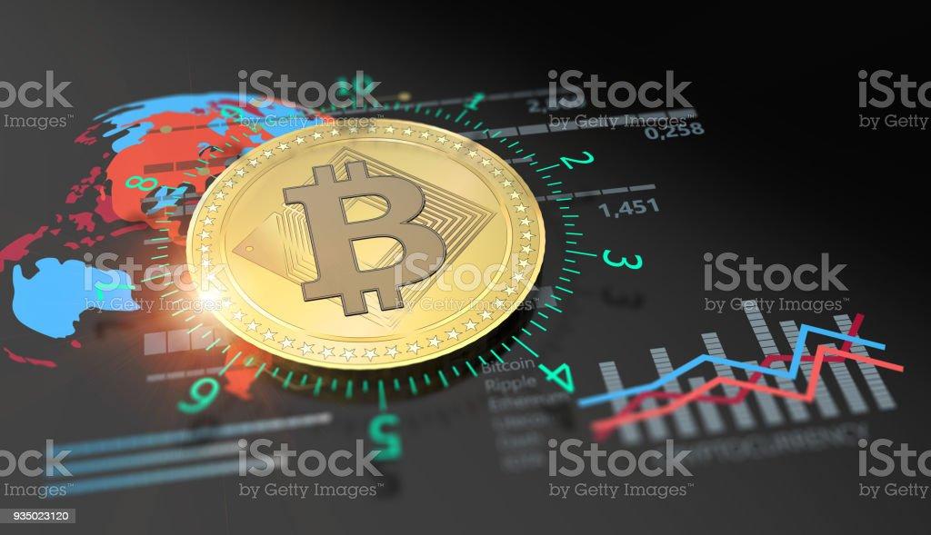 Virtual Bitcoin cryptocurrency financial market graph stock photo