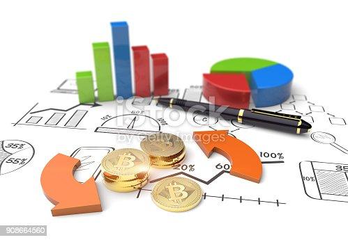istock Virtual Bitcoin cryptocurrency market graph 908664560