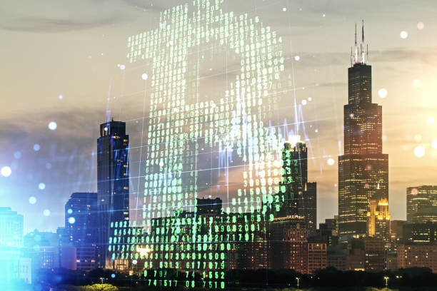 Virtual Bitcoin sketch on Chicago cityscape background. Double exposure Virtual Bitcoin sketch on Chicago cityscape background. Double exposure initial coin offering stock pictures, royalty-free photos & images