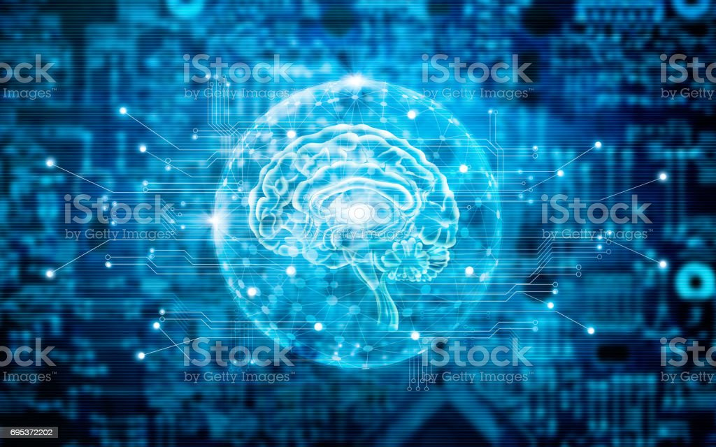 Virtual brain innovative technology in science and medical concept in blue tone stock photo