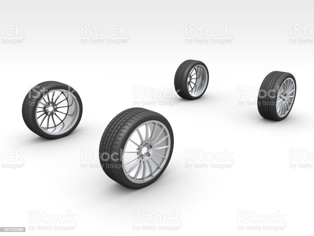 Virtual Car and Real Wheels stock photo