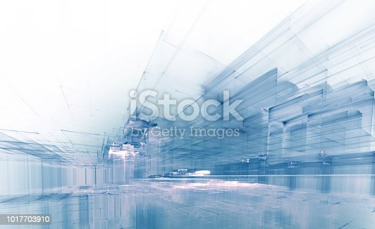 istock virtual city, abstract modern perspective background 1017703910