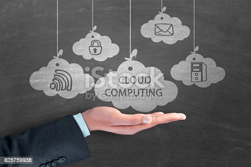 istock Virtual cloud storage concept 625759938