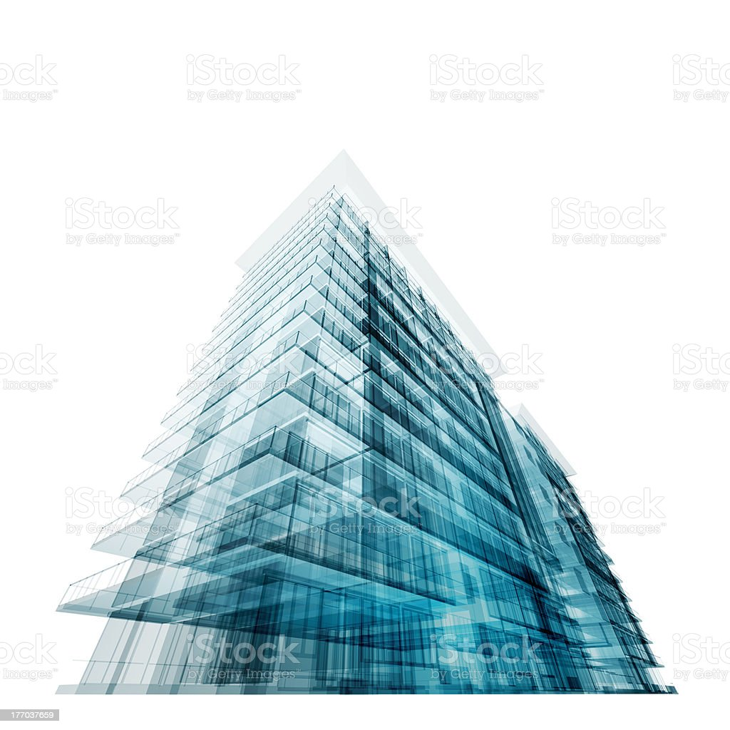 Virtual concept of modern building design royalty-free stock photo