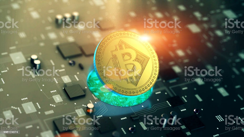 Virtual cryptocurrency Bitcoin symbol stock photo
