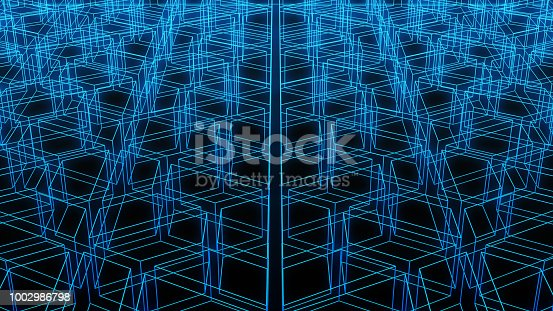 Virtual cyberspace. Blue reality digital data on black background in futuristic technology concept, 3d illustration