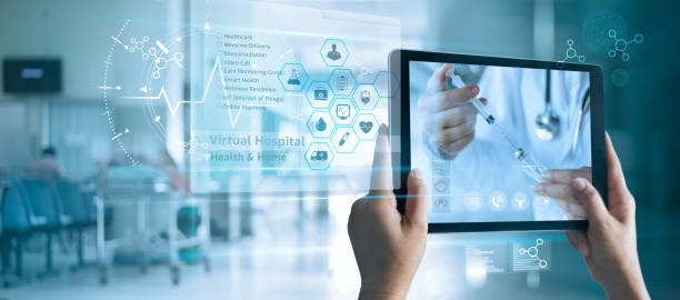 Virtual doctor concept, The patient holds a tablet. Consult and receive advice and analysis health from doctor online on virtual interface. Virtual hospital and online therapy. stock photo