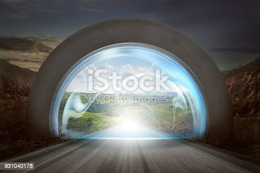istock Virtual door on gateway arch to entrance mountains landscape 931040178