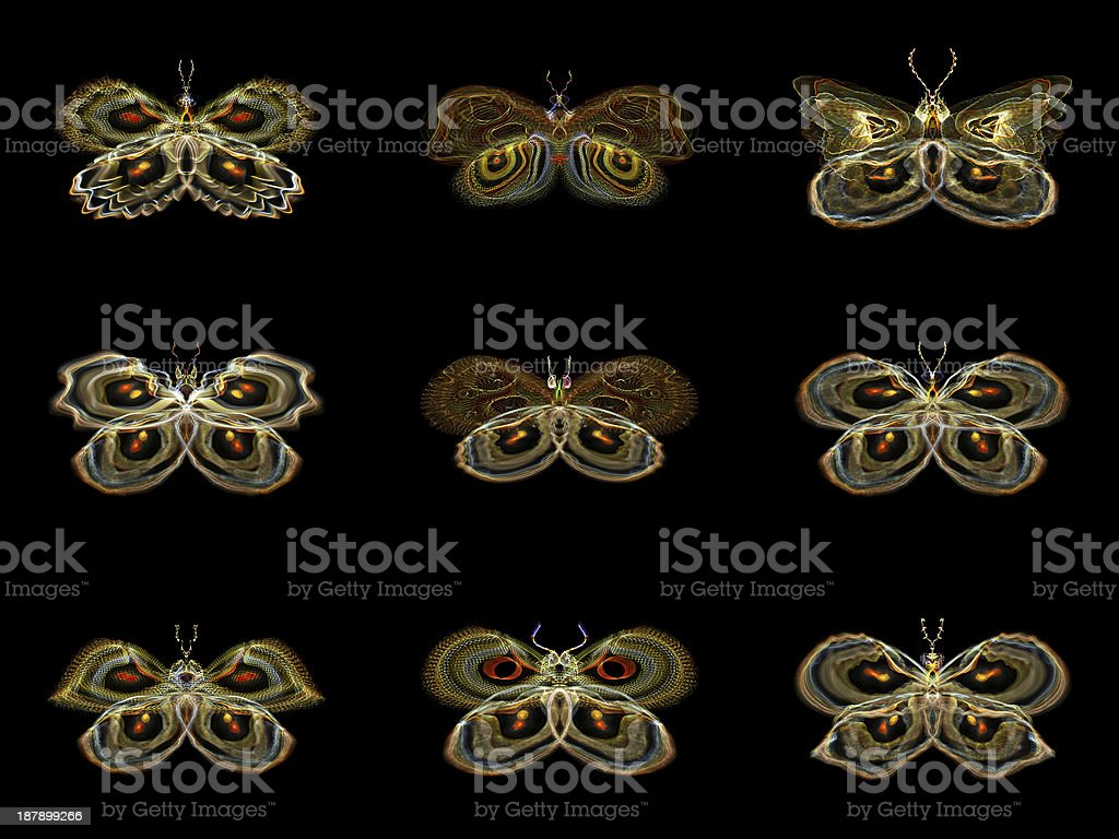 Virtual Fractal Butterflies royalty-free stock photo