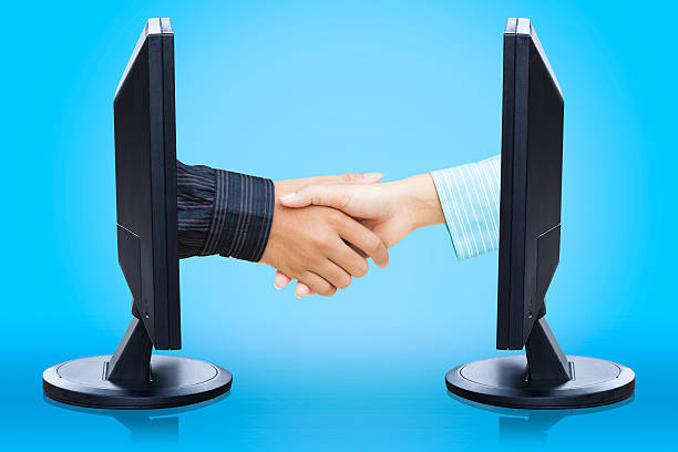 Virtual handshake stock photo