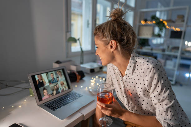 Virtual happy hour with my friends stock photo