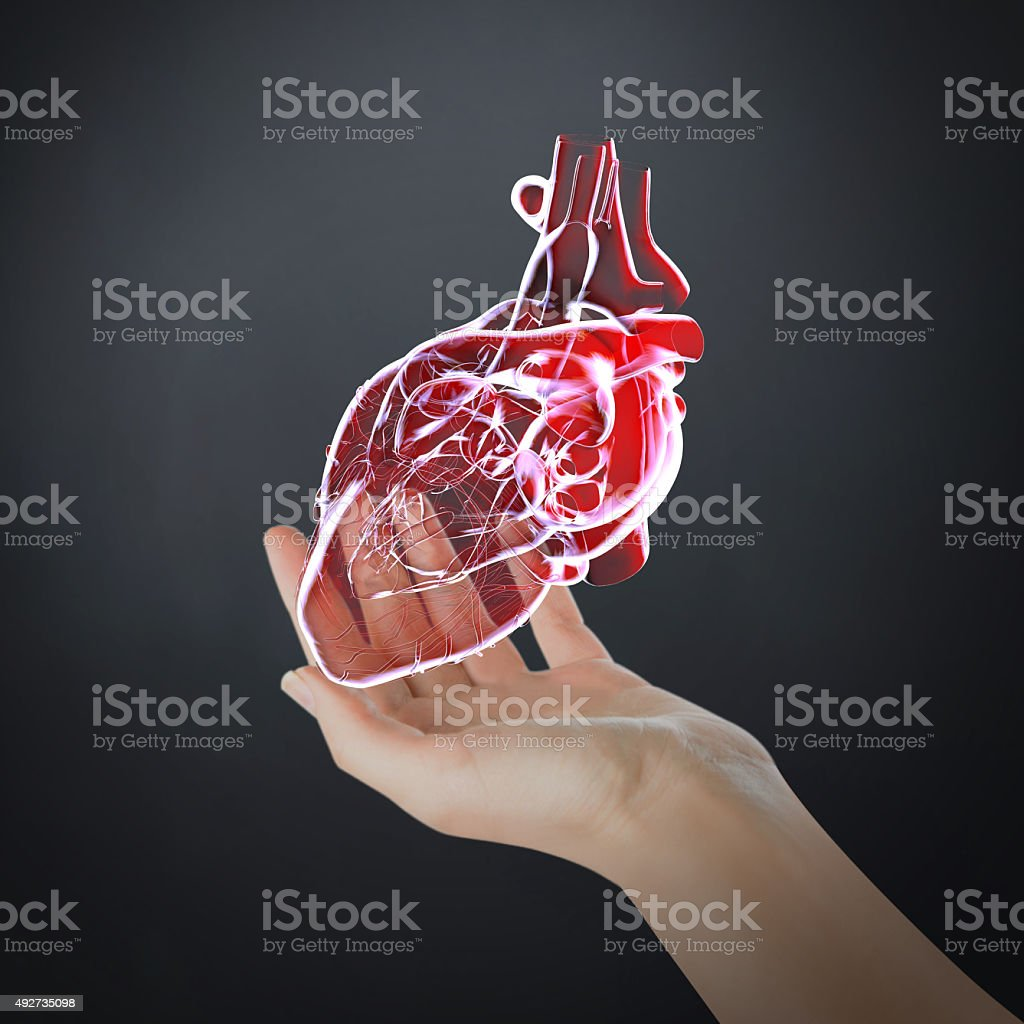 Virtual coração e nova tecnologia médica - foto de acervo