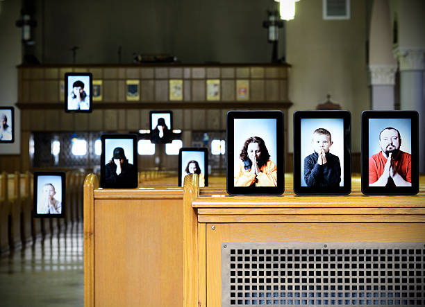 Virtual house of God Concept of virtual church, people displayed on digital tablet inside of the church, some noise was added for gradient uniformity. church stock pictures, royalty-free photos & images