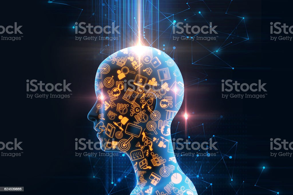 virtual human 3dillustration on business and learning technology stock photo