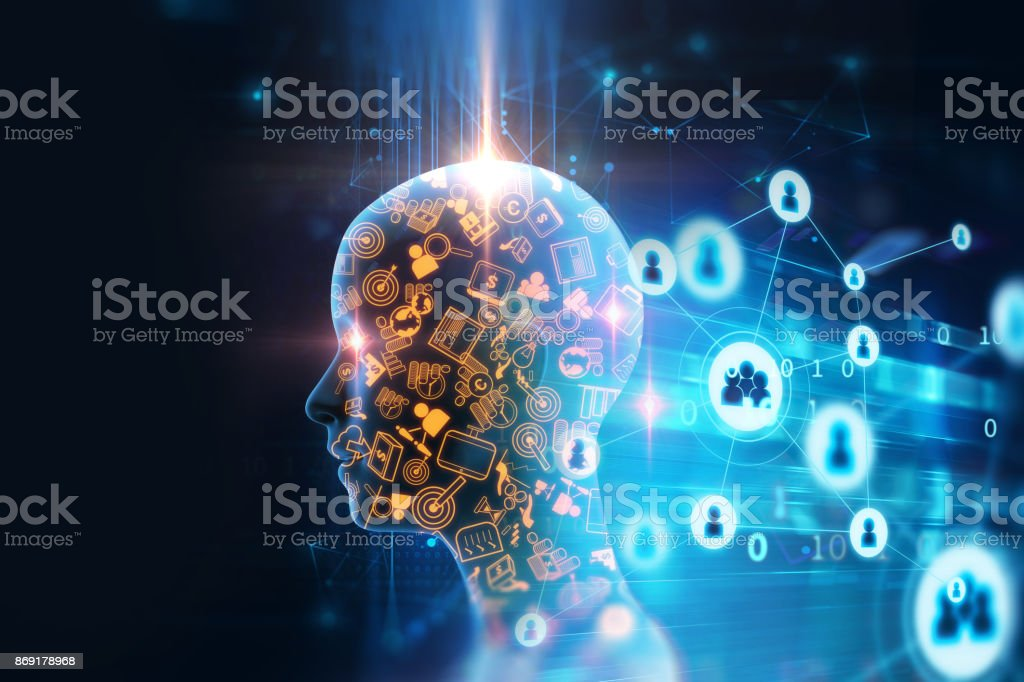 virtual human 3dillustration on business and learning technology  background stock photo