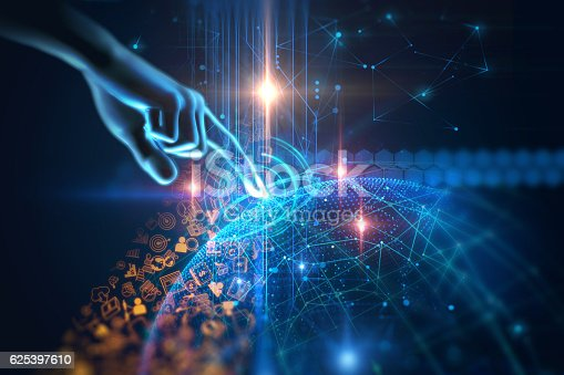 istock virtual human hand 3dillustration on technology background 625397610