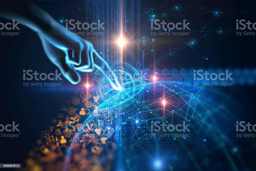 virtual human hand 3dillustration on technology background stock photo