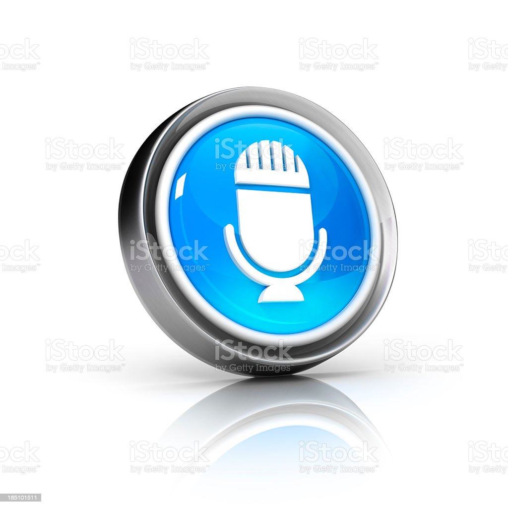 Virtual image of 3D button with microphone icon stock photo