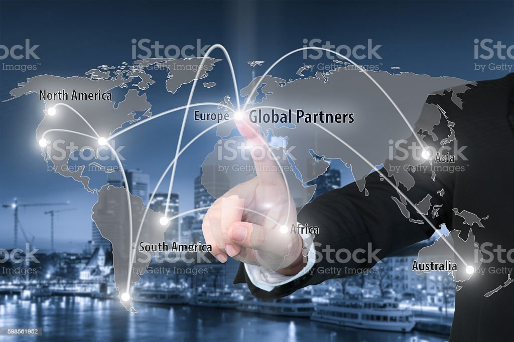 Virtual interface connection map of global partner connection stock photo