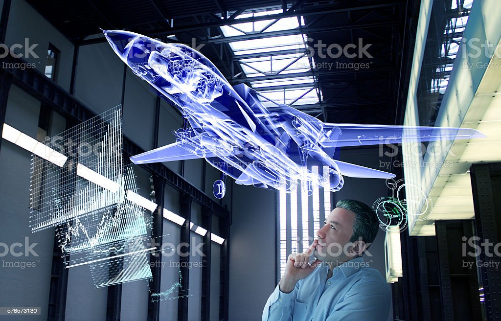 Virtual Jet Design Tests New generation supersonic jet design is flying in the secret test area. Genius scientist is working in secret technological base. Military war technology grows every day. Researchers scientist doing tests. Industrial design technology in near future. Adult Stock Photo