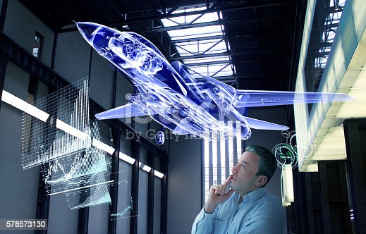 New generation supersonic jet design is flying in the secret test area. Genius scientist is working in secret technological base. Military war technology grows every day. Researchers scientist doing tests. Industrial design technology in near future.