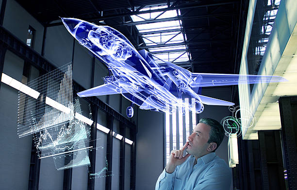 virtual jet design tests - hologram stock photos and pictures