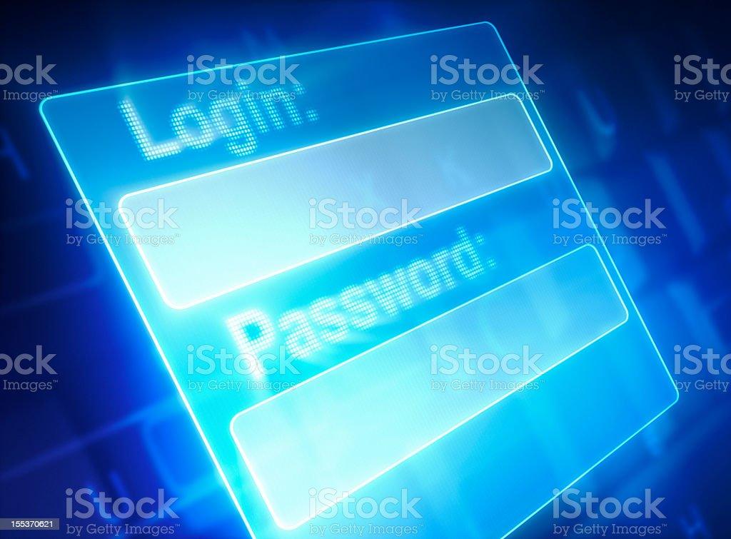 Virtual login screen blue with keyboard background  stock photo