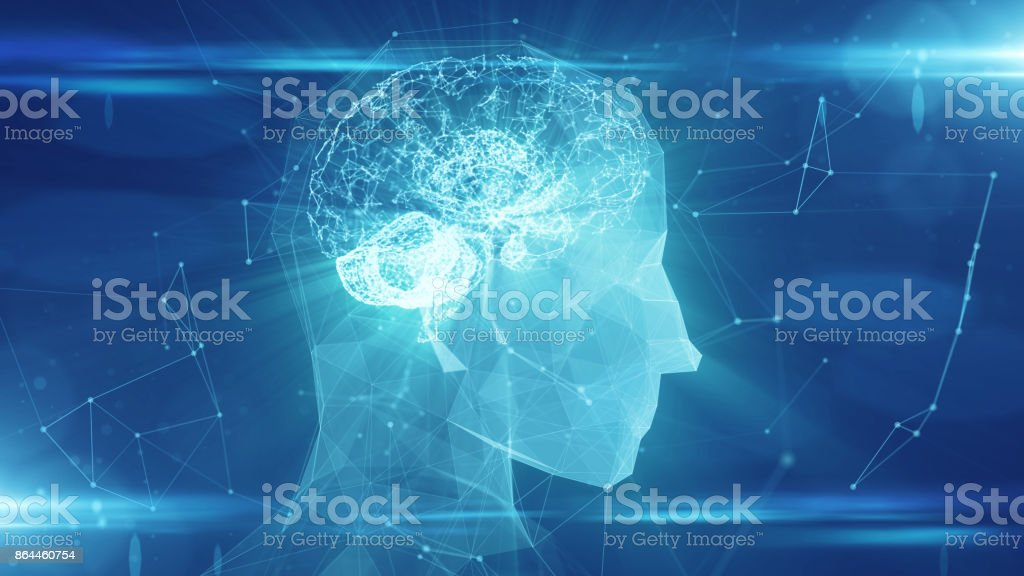 Virtual mind of a digital learning AI artificial intelligence robot stock photo