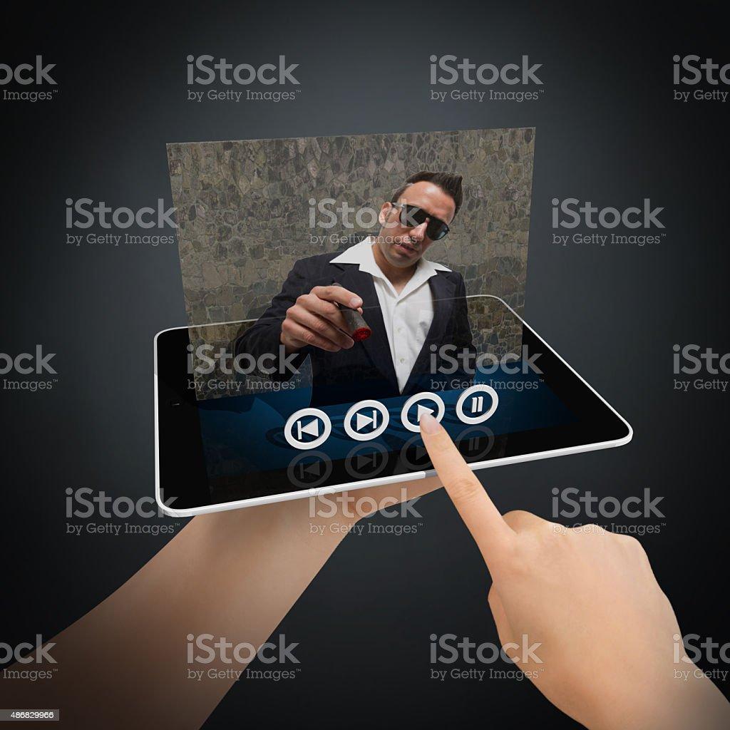 Virtual película en comprimidos - foto de stock
