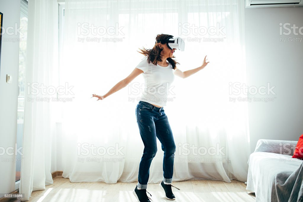 Virtual preparing for jump stock photo