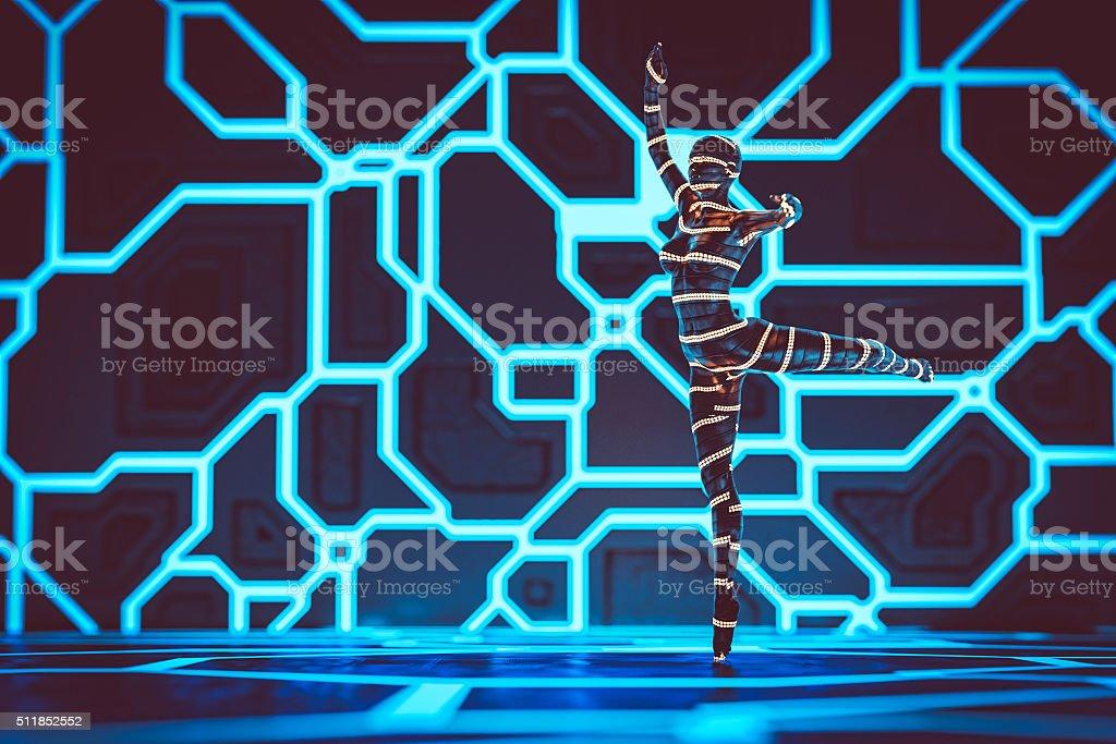 Virtual reality ballet dancer stock photo